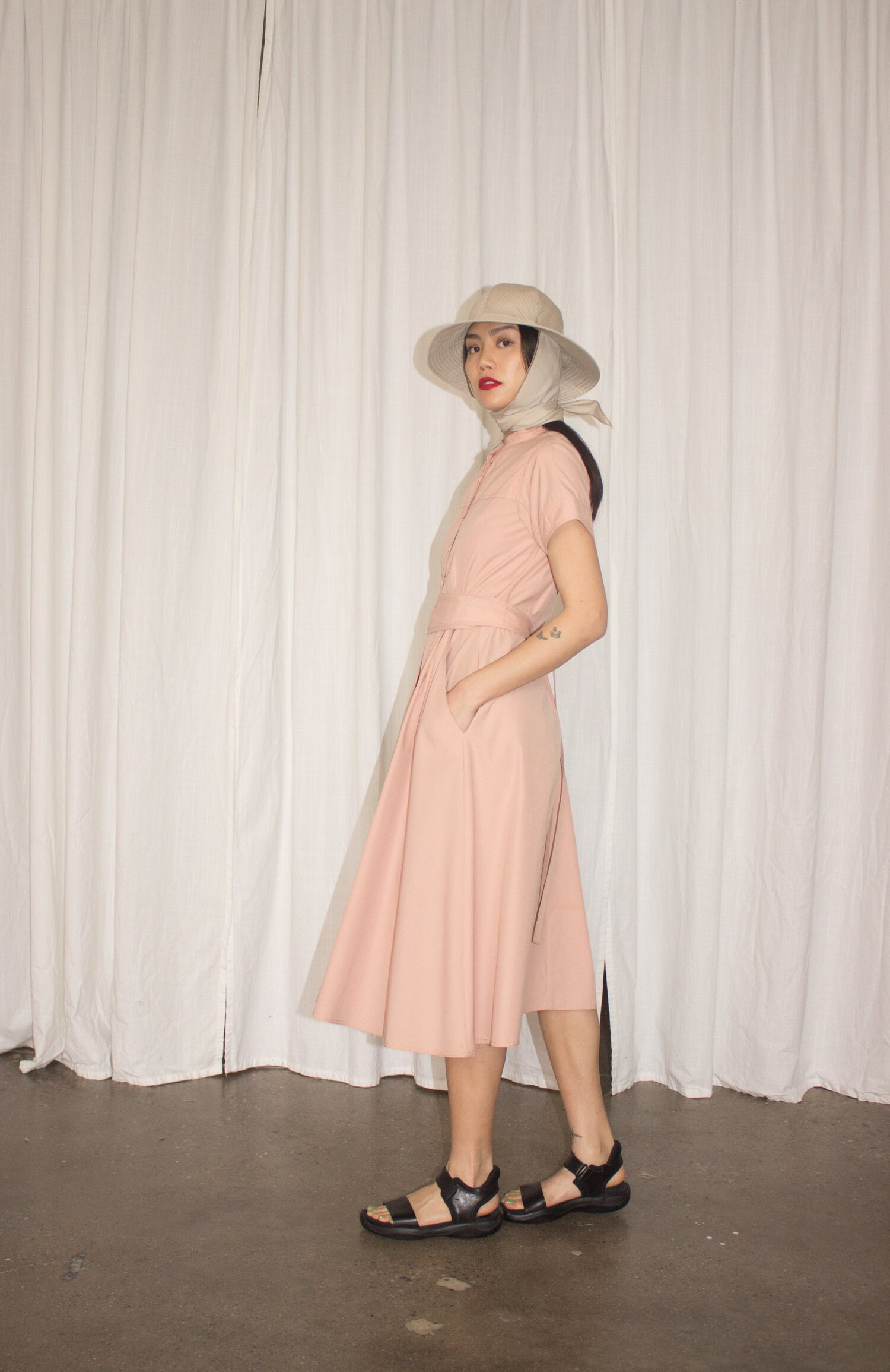 80s Dresses | Casual to Party Dresses 1980S Dusty Rose Cotton Shirt Dress $0.00 AT vintagedancer.com