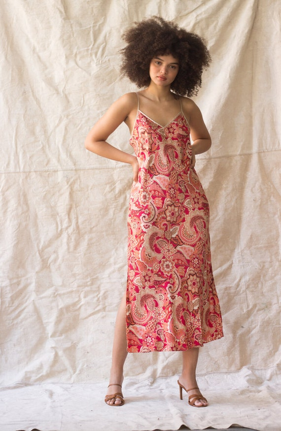 1990s Modern Paisley Print Silk Slip Dress