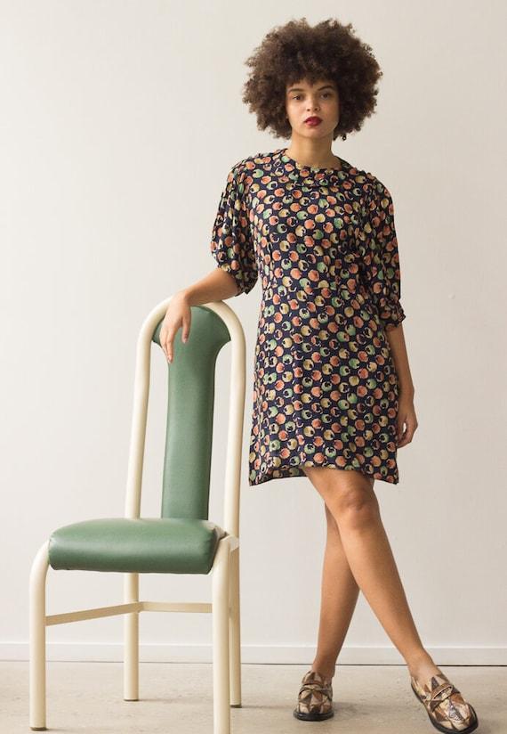 1940s Printed Rayon Puff Sleeve Dress