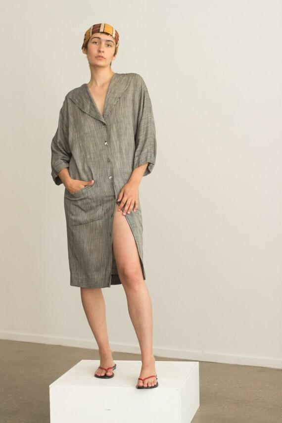 1980s Nicole Miller Linen Shirt Dress