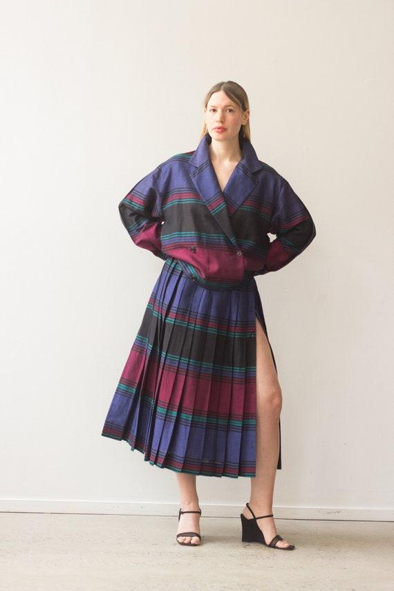 1980s Perry Ellis Striped Linen Skirt Suit