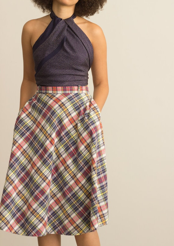 1970s Madras Cotton Middy Skirt