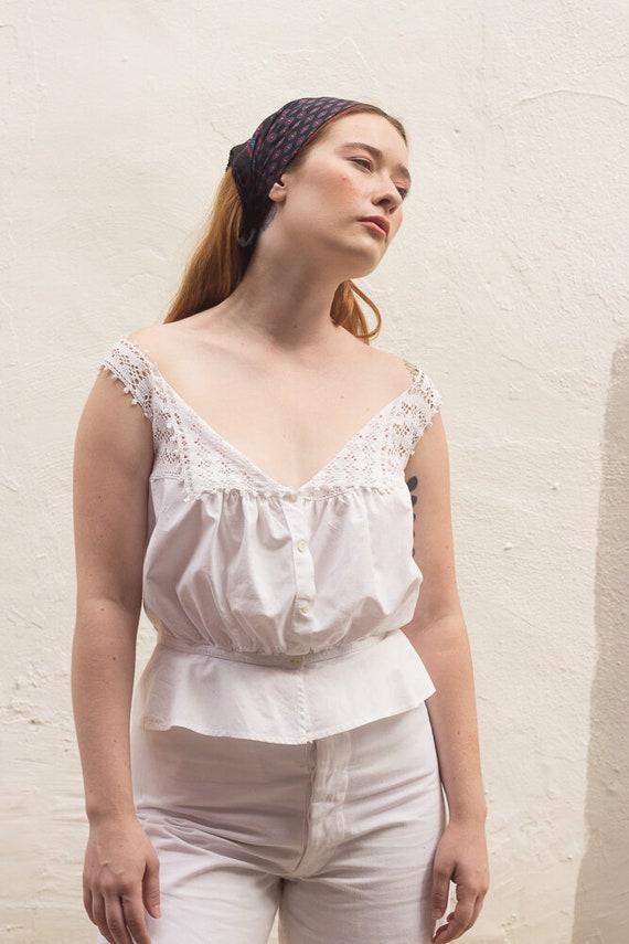 1910s Edwardian White Cotton Camisole Corset Cover