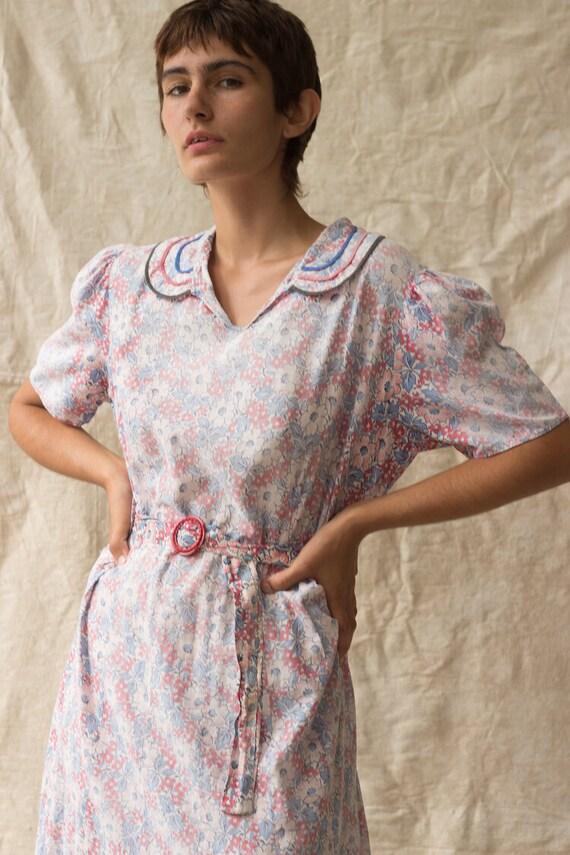 1930s Feedsack Cotton Dress