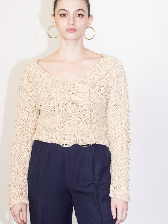 1980s Ecru Crocheted Sweater