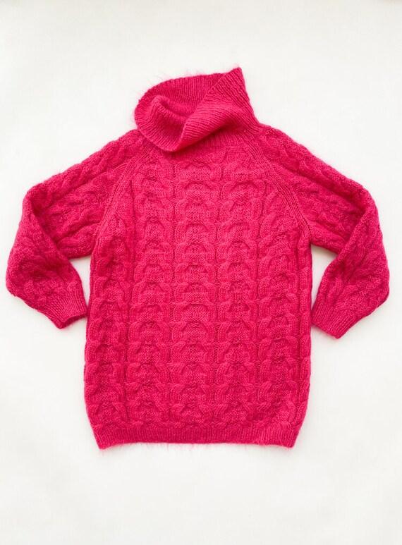 1980s Fuchsia Mohair Oversize Sweater