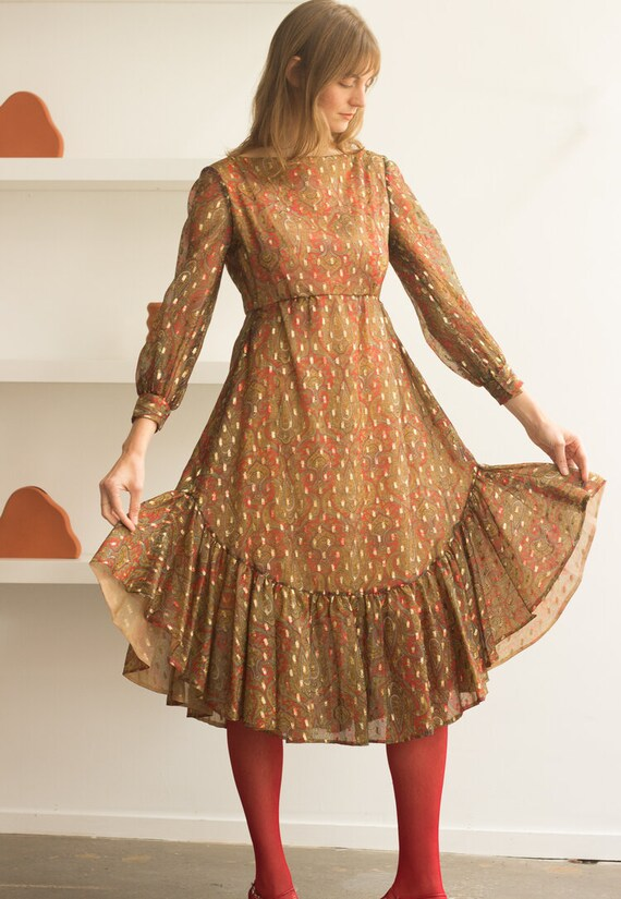 1960s Malcolm Starr Paisley Lurex Ruffled Dress - image 1