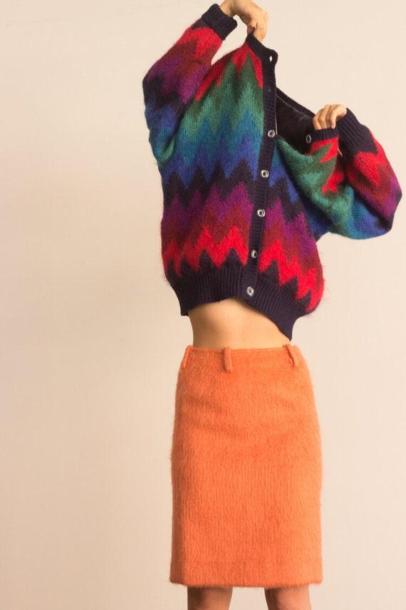 1960s Coral Mohair Pencil Skirt