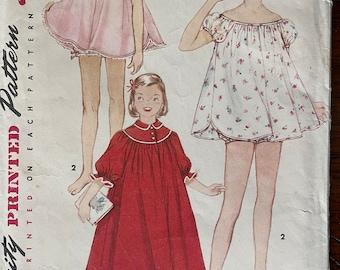 80s puff sleeve polka dot pearl button nightgown with smockedappliqu\u00e9d floral bib