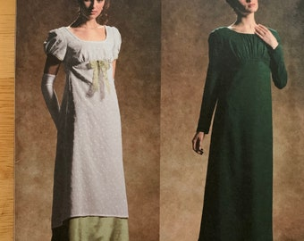 0086d6273df0 Simplicity Costume pattern 4055, misses long regency style dress/gown. Jane  Austen, Sense & Sensibility, uncut sizes 14, 16, 18, 20