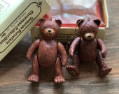 Set of 2 Vintage Porcelain Teddy Bear Christmas Ornaments by Russ