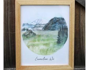 Enumclaw WA original watercolor print