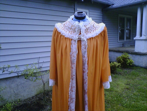 Sunny Orange Double Ruffle Gown and Robe Set