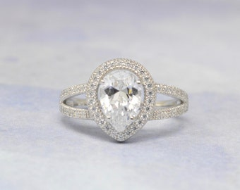 Pear Shaped Engagement Ring - Tear Drop Solitaire - Dainty Split Shank Band - Cubic Zirconia Promise Ring - Halo Engagement Ring