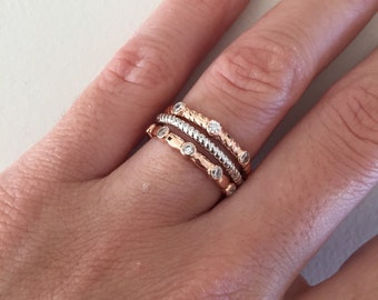 Set of 3 Stack Rings, CZ Rose Gold Ring, Twisted Band Ring, Sterling Silver Ring, Stackable Bands