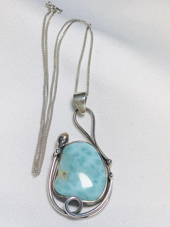 Sterling silver and Larimar pendant with 16 silver chain