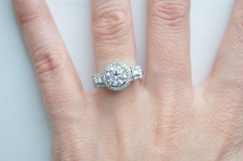 Unique Three Stone Engagement Ring Round Brilliant Cubic   Etsy