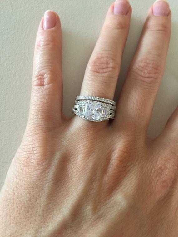 Double Band Engagement Ring Set Avant Garde Engagement Ring | Etsy