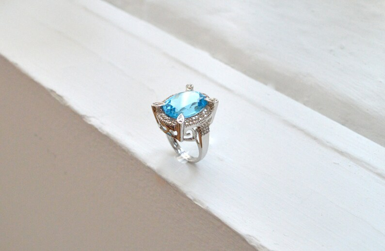 Blue Topaz Halo Ring Sky Blue Topaz Silver Statement Ring Art Deco Ring November Birthstone Gemstone Ring Silver Cocktail Ring