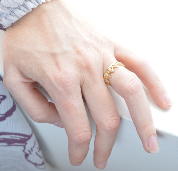 Sterling Silver Ring Knuckle Stack Slim Tiara Ring Princess Crown Ring Rose Gold Ring Stackable Ring Valentine/'s Day
