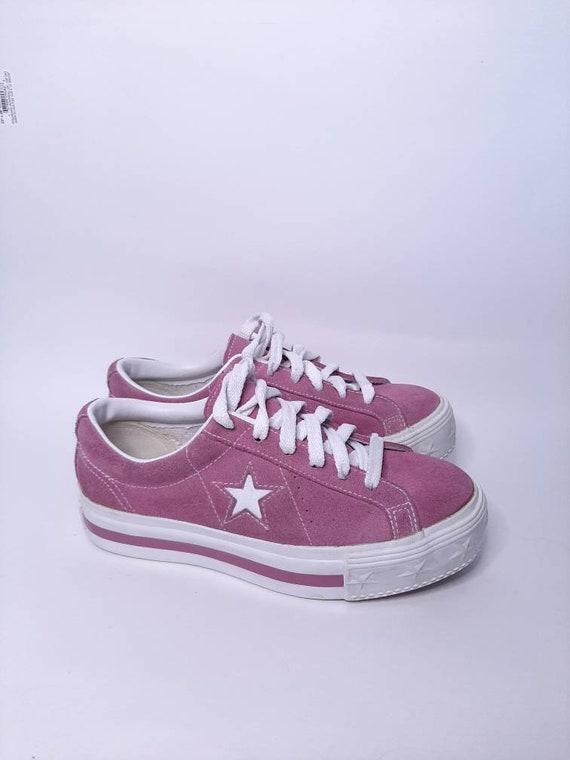 Platform converse - vintage sneakers - suede shoe… - image 10