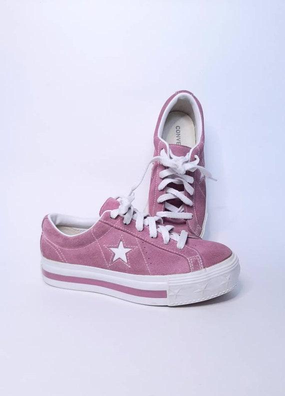 Platform converse - vintage sneakers - suede shoe… - image 1