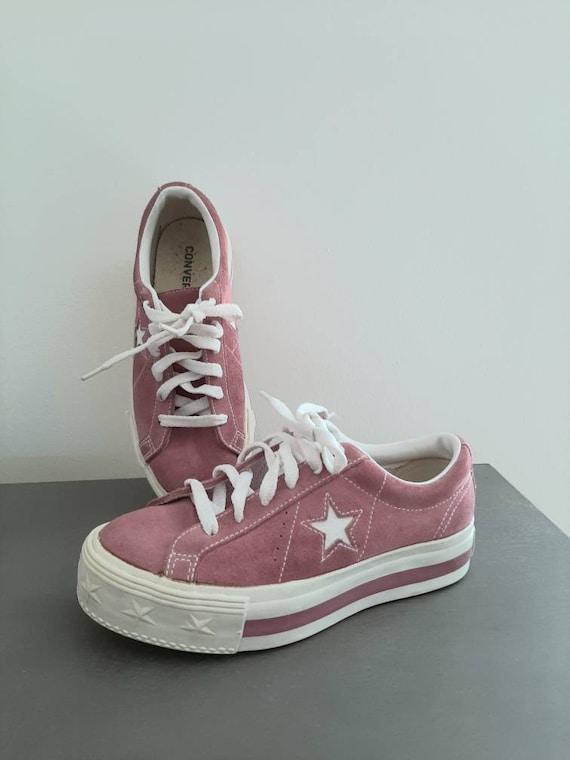 Platform converse - vintage sneakers - suede shoe… - image 4