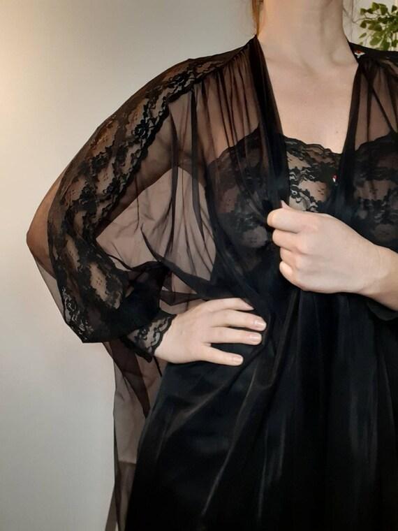 Vintage Black lace Chiffon Peignoir Negligee Set B