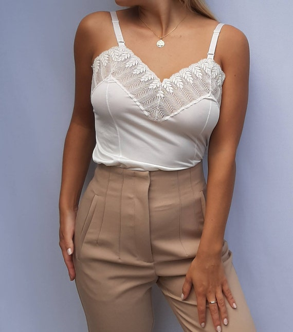 vintage lingerie camisole, lace tank top, satin l… - image 4