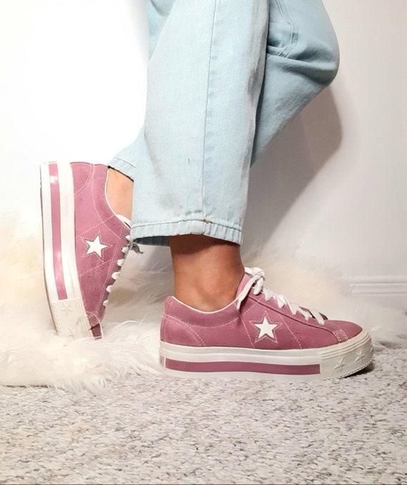 Platform converse - vintage sneakers - suede shoe… - image 2