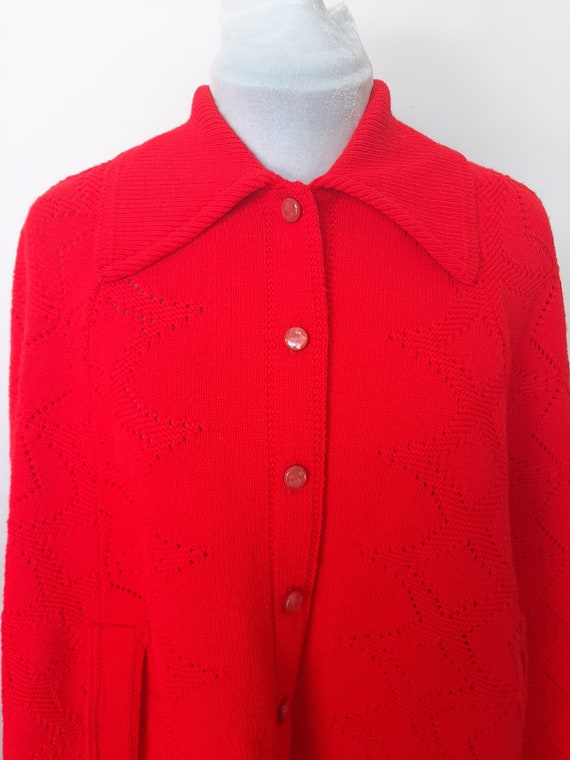 Vintage poncho, 1960s cape, red knit poncho, Knit… - image 5