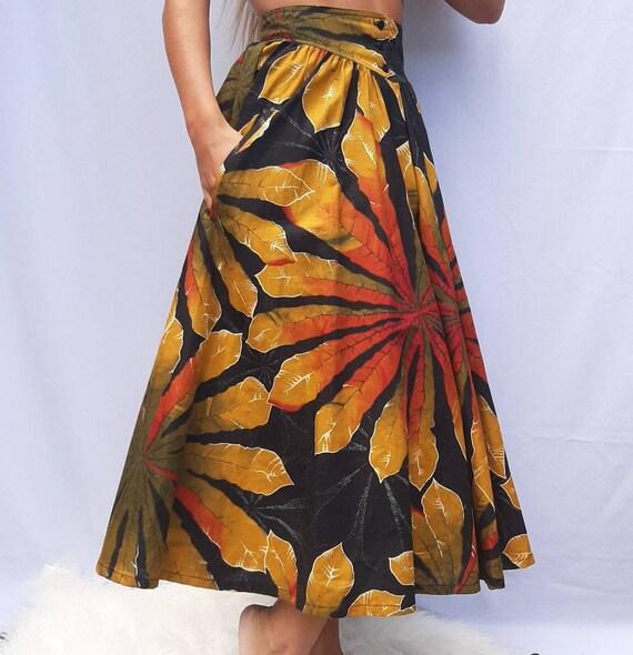 Cotton pleated skirt - women long skirt - leaf mot