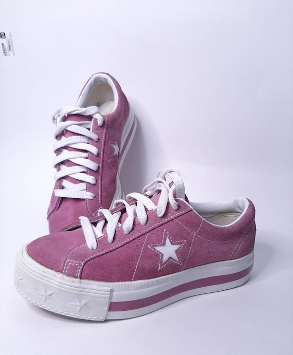 Platform converse - vintage sneakers - suede shoe… - image 3