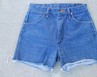 Denim High Waisted Wrangler Shorts