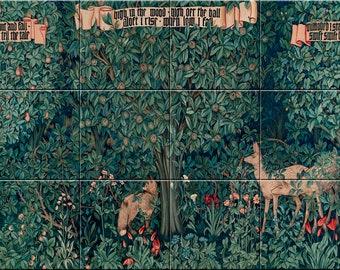 9425fe124b92 William Morris Forest Illustration Ceramic Wall Tile Mural