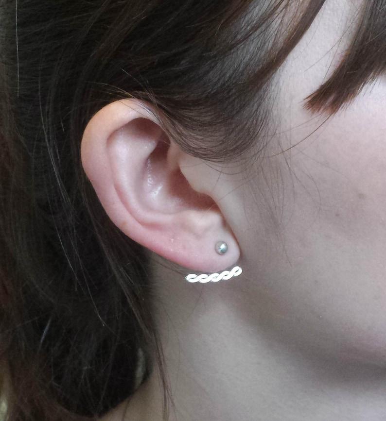 silver front back earrings knot earrings Knot ear jacket earrings ear jacket earrings