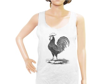 French Rooster tank top rooster shirt animal tank top cool graphic tshirt funny quote top slogan tee women tank top men tank size M L