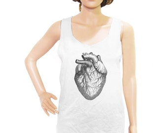 Heart Diagram tank top Heart Diagram shirt graphic tank top workout top slogan tee women top women tank top men tank top size M L