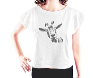Goat Head shirt goat t shirt slogan shirt cute tshirt funny graphic shirt blogger shirt cool tshirt fashion top women top crop shirt size S