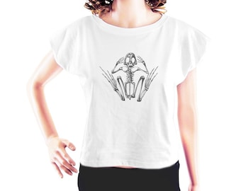 Frog Skeleton Tshirt animal tshirt frog shirt funny tumblr shirt cooltop blogger tshirt trendy tshirt women top crop top crop tee size S