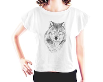 Wolf Tshirt wolf shirt animal tee shirt art shirt instagram tshirt trendy shirt cute tee graphic tee women t shirt crop top crop tee size S
