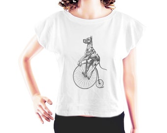 Great Dane on Big Wheel Bike women graphic shirt funny shirt teen shirt quote tshirt tumblr top women tshirt crop top crop tee size S
