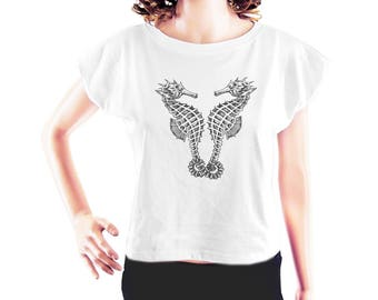 Sea Horse tshirt women graphic tshirt workout top hipster t shirt tumblr tee top trending women shirt crop top crop shirt teen girl size S
