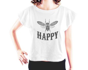 Bee Happy tshirt bee shirt top trending women t shirt funny graphic tee with saying hipster graphic top quote tee crop top crop shirt size S