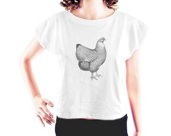French Rooster tshirt chicken shirt cute top funny top style shirt teen top fresh top cute tshirt women tshirt crop top crop shirt size S