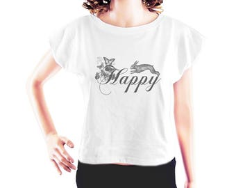 Happy shirt rabbit shirt funny top hipster graphic tshirt tumblr quote tshirt blogger shirt fashion tee women top crop top crop tee size S