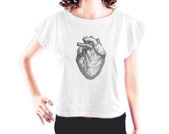 Heart Diagram tshirt heart tshirt cool graphic tshirt women workout shirt tumblr tee funny tee women t shirt crop top crop tee size S