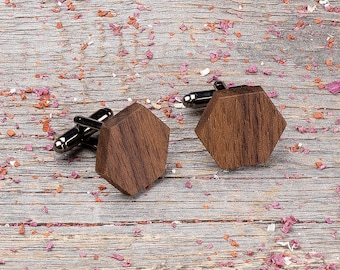 Wood Cufflinks, Hexagon walnut cufflinks, Wedding Cufflinks, 5th Wedding Anniversary Present, cufflinks for men, groomsmen, customized