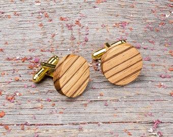 Wood Cufflinks, Round zebrano wood cufflinks, Wedding Cufflinks, 5th Wedding Anniversary Present, cufflinks for men, groomsmen, customized
