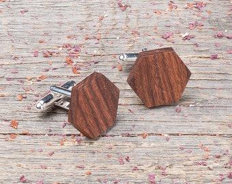 Wood Cufflinks, Hexagon rosewood cufflinks, Wedding Cufflinks, 5th Wedding Anniversary Present, cufflinks for men, groomsmen, Boyfriend gift